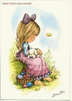 Preciosa postal de la serie Mary May. Niña en el campo. Escrita al dorso