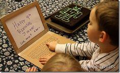 Make a little cardboard laptop for some fun preschool play...