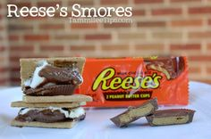 Should have done this while camping!!! Reeses Peanut Butter Cup Smores