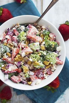 Strawberry Broccoli Salad   23 Delicious Side Dishes You Can Make Without Turning On Your Stove