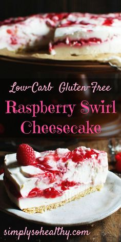 Celebrate Valentines day with our Low-Carb Raspberry Swirl Cheesecake. This cheesecake is a refrigerator cheesecake that is simple to whip up. It makes a perfect dessert for people on low-carb, gluten-free, grain-free, ketogenic, diabetic, LC/HF, and Banting diets.