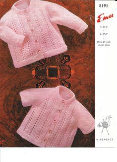 Baby Cardigans Emu 8191 knitting pattern 3 & 4 ply yarn long or short sleeves Sirdar Knitting Patterns, Baby Cardigan Knitting Pattern Free, Cardigan Pattern, Jacket Pattern, Knitting Designs, Knitting Yarn, Knitted Hats Kids, Knitting For Kids, Baby Patterns