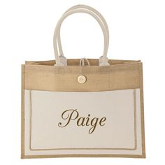 """Size: 18.25""""L x 14""""Hx 5.5""""W Large two-tone tote made from sustainable jute fiber. It features a wide 5 1/2"""" gusset, large cotton front pocket with hook & loop closure, 20"""" handles and a button and loop closure."""