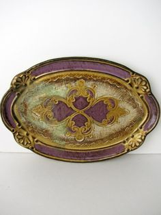 Vintage Florentine Tray in Purple