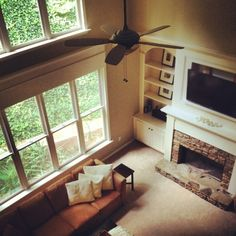 This girls blog is amazing, but I especially love the built in next to the fire place in the formal living room...I want to do this exact set up in ours!! Honey.....