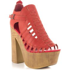 Penny Loves Kenny Women's Merlin - Red Mat (580 NOK) ❤ liked on Polyvore featuring shoes, block heel shoes, strappy high heel shoes, red strap shoes, strap shoes and red retro shoes