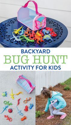 Backyard Bug Hunt Activity for Kids Grab a bug catcher & invite your kids to go on a bug hunt. This Backyard Bug Hunt Activity For Kids is so easy to put together and is perfect for outdoor (or indoor) play! This is a great spring or summer activity. Bug Activities, Outdoor Summer Activities, Outdoor Activities For Toddlers, Summer Activities For Kids, Infant Activities, Summer Kids, Spring Summer, Outdoor Games, Outdoor Fun For Kids