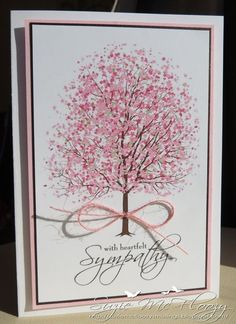 Suzie McFloozy's Musings: Sympathy tree Tree vector image (link to the image on her blog). She then added a beautiful sentiment from 'Clear dollar stamps' and added a button twine bow. The dark brown matt is pearlescent and adds just a hint of glimmer.