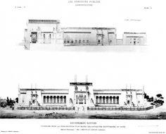 9. Jacques Devret and Édouard Arnaud, Cairo Museum, longitudinal section and main facade, Les Concours publics d'architecture, 2nd year, 3, s.  D., Pl.  45.