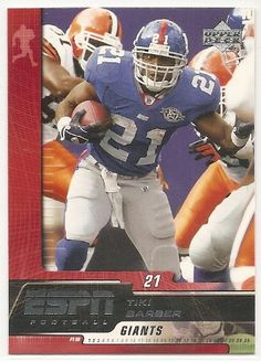 tiki barber football card | Tiki Barber 2005 Upper Deck ESPN New York Giants Card #66 at Amazon ...