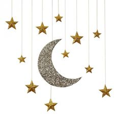 Glitter Moon Stars Hanging Decorations
