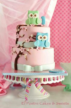 Beautiful Cake Pictures: Pastel Pink Owl Themed Birthday Cake: Birthday Cakes, Pink Cakes, Themed Cakes