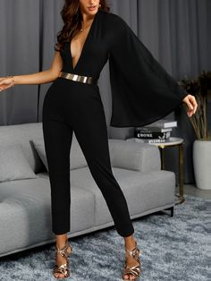 ivrose / One Shoulder Bell Sleeve Plunge Jumpsuits - Diyjoy Trend Fashion, Womens Fashion, Style Fashion, Classic Fashion, Bohemian Fashion, Fashion Vintage, Spring Fashion, Classy Outfits, Stylish Outfits