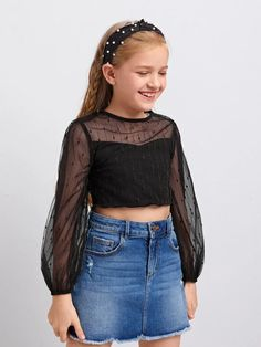 Cute Girl Dresses, Girls Casual Dresses, Kids Outfits Girls, Tween Fashion, Girls Fashion Clothes, Fashion News, Outfits Niños, Fashion Outfits, Mesh Crop Top