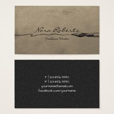 Black white writers authors dip pen handmade paper business card writers authors editor black dip pen brown paper business card colourmoves