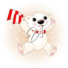 iCLIPART - Cute polar bear with scarf jumping in snowfall