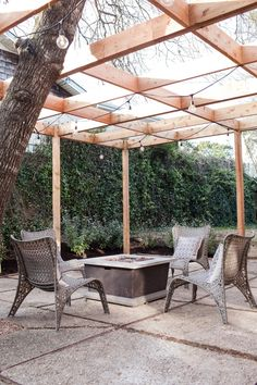 Love this fixer upper wooden pergola
