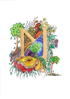 Illuminated Letters C original watercolor painting by melanie j