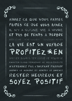 Affiche Déco - Texte - Vivre sa vie - Organization Bullet Journal, Miracle Morning, French Quotes, Messages, Favorite Words, My Mood, Positive Attitude, Positive Life, Love Life