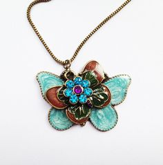 Three Layered Butterfly & Flower Necklace £4.50