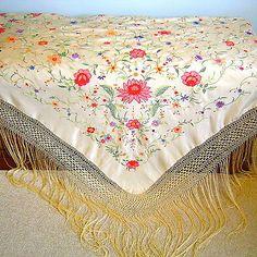 Antique Vintage Embroidered Silk Piano Shawl Manton de Manila C1920 | eBay