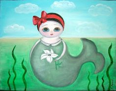 MERMAID 8x10 Art Print from Original Painting by ArtAndDreams, $14.99