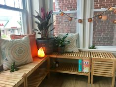 Window seat made with  birch ikea Molger benches