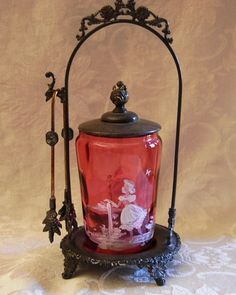 Victorian Pickle Castor Mary Gregory Cranberry Thumbprint Jar Silver Plate Frame | eBay