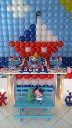 Decoração George Pig Pirata clean/provençal para aniversário, festa, meninos adoram.....peppapiggeorgepig#