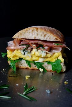 Blue Cheese Omelette and Rosemary Prosciutto Ciabatta Sandwich ° eat in my kitchen
