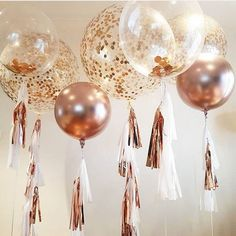 Introducing our rose gold Confetti balloons - Decoration For Home Jumbo Balloons, Gold Confetti Balloons, Balloon Tassel, Balloon Bouquet, 18th Birthday Party, Gold Birthday, Birthday Balloon Decorations, Birthday Balloons, Rose Gold Party Decorations