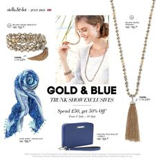 July's fab offers! Spend £50 and get these for 50% off! Oh I love my indigo scarf and the Milana is such laid back summer style ☀️