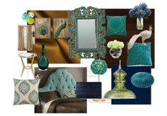 Peacock-themed inspiration board for my bedroom.