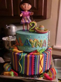 how crazy that I searched for Dora birthday cake ideas for Julie's 3rd birthday & this is one of the pins I found!!! =o/