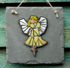 Yellow Fairy Mosaic on Recycled Slate