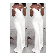 V Neck Off the Shoulder White Jumpsuit ($23) ❤ liked on Polyvore featuring jumpsuits, white, print jumpsuit, short sleeve jumpsuit, white jump suit, patterned jumpsuit and white off shoulder jumpsuit