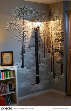 Or just paint a wintry forest mural on the wall and attach an old-fashioned lamp. Or just paint a wintry forest mural on the wall and attach an old-fashioned DIY Ways To Kids Bedroom, Bedroom Decor, Lego Bedroom, Bedroom Lamps, Wall Lamps, Forest Mural, Tree Wall, Home Design, Design Ideas