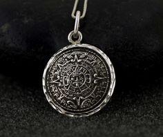Sterling Silver Aztec Calendar Necklace Sterling by Alyssasdreams