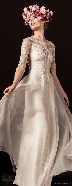 Temperley London spring 2018 half sleeves illusion bateau sweetheart neckline heavily embellished elegant romantic sheath wedding dress