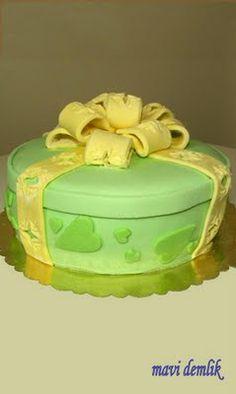 mavi demlik mutfağı- izmir butik pasta kurabiye cupcake tasarım- şeker hamurlu-kur: Sarı Kurdele