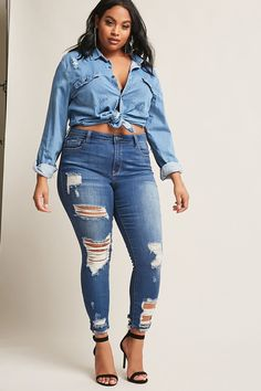 Plus size distressed ankle jeans moda tallas grandes Curvy Outfits, Plus Size Outfits, Cool Outfits, Casual Outfits, Curvy Girl Fashion, Look Fashion, Plus Size Fashion, Womens Fashion, Fashion Fashion