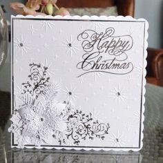 Happy Christmas (D446), Lavish Poinsettia (D452), Holly Flourish (D409) www.tatteredlace.co.uk Beautiful Christmas Cards, Christmas Cards To Make, Xmas Cards, Handmade Christmas, Christmas Crafts, Card Making Inspiration, Making Ideas, Poinsettia Cards, Tattered Lace Cards
