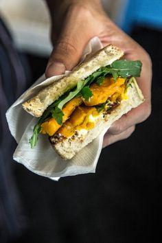 pumpkin goat cheese sandwich
