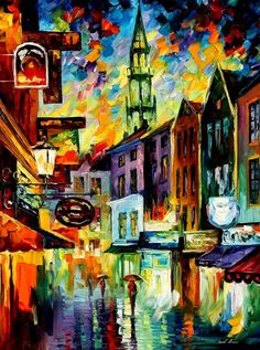 ART - BELGIUM BRUSSELS — PALETTE KNIFE Oil Painting On Canvas By Leonid A
