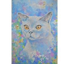 Hand made Original White cat oil painting portrait yellow eye tabby Funny wall decor Art Gift idea for petlovers decoration bedroom blue art