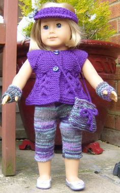 Pdf Knitting Pattern # 14 Top Down Sleeveless Cardi and Skinny Leggings Set This is one of my own designs suitable for most popular 18 and 19inch dolls Comprising of written instructions for One of the Easiest Sets you will ever Knit for your doll a Sleveless cardigan which is knitted from the top down and all in one piece,so no sewing up to do just add the buttons. A pull on Hat, which is knitted flat and a very stylish pair of skinny leggings.A sun visor,A Bag and a pair of fingerless…