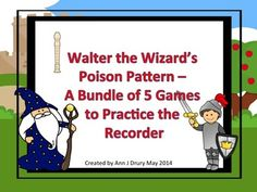 This is a fun way to play the poison pattern game with your students. They will practice their pitch reading and recorder playing skills whilst avoiding the Walter the Wizard's poison pattern.  Rhythms used in this games are: the quarter note (ta), paired eighth notes (ti-t)i and the quarter rest. This bundle contains 5 games: Game One: G, A and B Game Two: G, A, B and C' Game Three: G, A, B, C' and D' Game Four: G, A, B and E Game Five: G, A, B. E and D