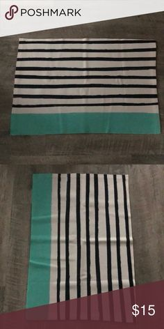 "SOCIETY 6 Black White and Mint Striped Rug 35"" x 23.5"" Rug.  Never Used Society6 Accents"