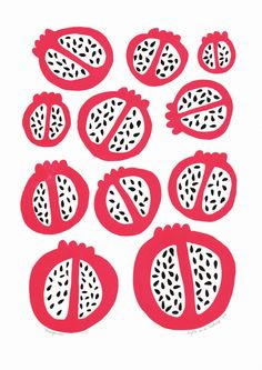 Pomegranate ltd edition silkscreen print by mengseldesign on Etsy