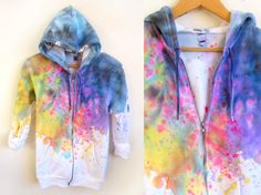 Splash Dyed Hand PAINTED Fleece Pocket Zip Hoodie by twostringjane on Etsy